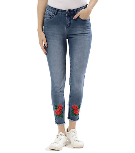 Denims with Floral embroidery