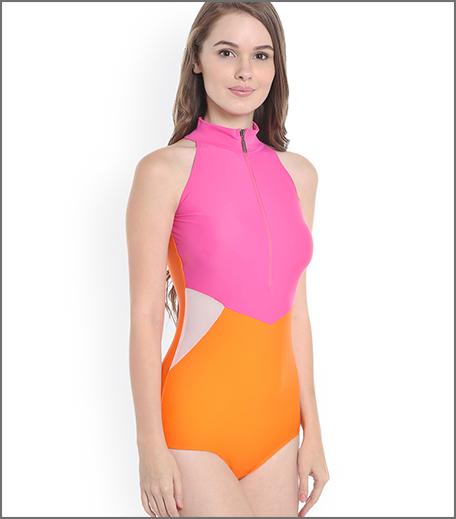 Nidhi Munim Pink & Orange Colourblocked Bodysuit