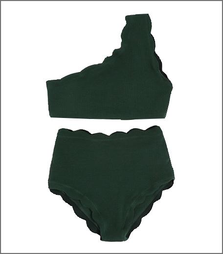 Scalloped Trim One Shoulder High Waist Bikini Set