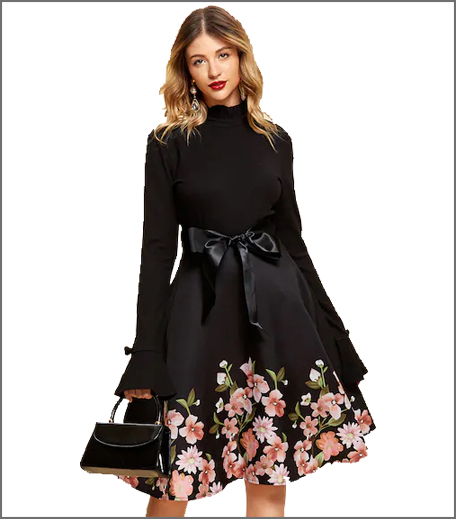 Self Tie Floral Print Dress