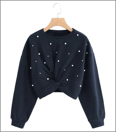 Beaded Twist Front Sweatshirt