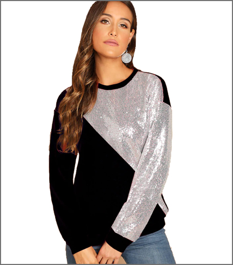 SHEIN Sequin Patched Cut-And-Sew Pullover