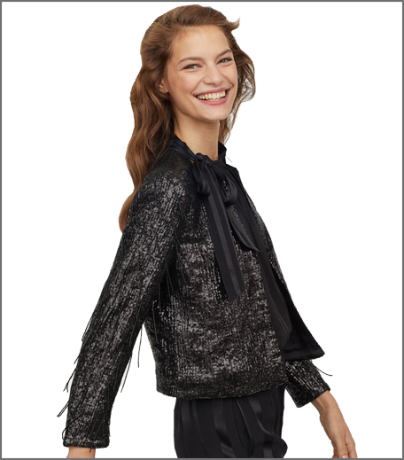Sequined bead-fringed jacket
