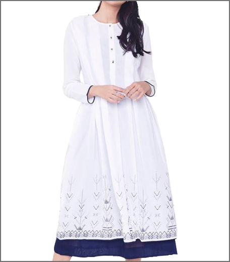 Global Desi White Box Pleat Layered Kurta
