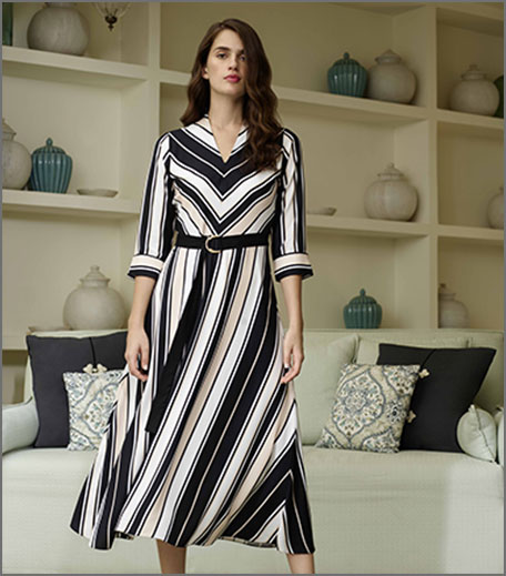 AND Black & White Stripe Midi