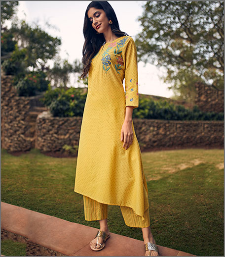 Global Desi Yellow Floral Embroidered Coordinates