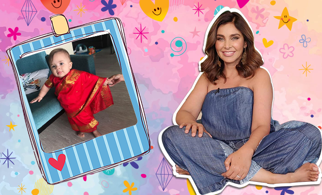 lisa ray twin daughters saree