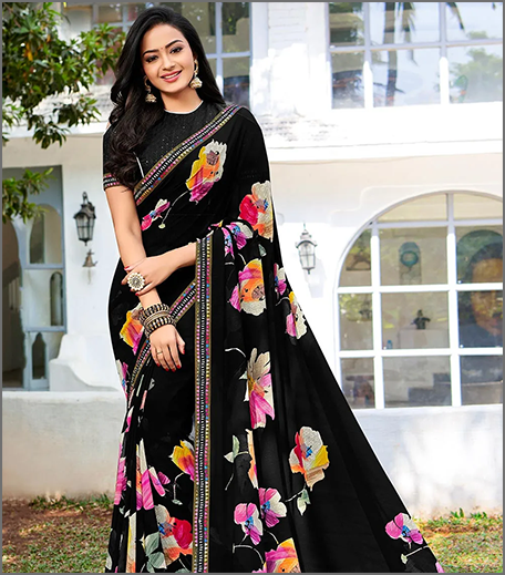 Hauterfly Black Saree