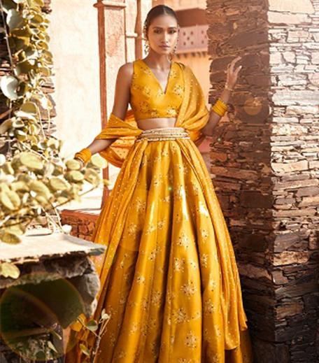 Hauterfly Ethnic Wear Trends Yellow Lehenga India