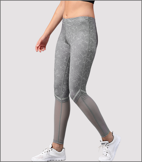 HRX Active by Hrithik Roshan Women Grey Printed Rapid Dry Semi-Sheer Running Tights