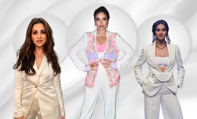 Hauterfly All White Pantsuit Bhumi Pednekar 2019
