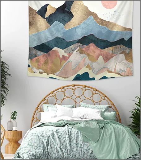 Mountain & Sun Print Tapestry