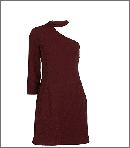 Hauterfly Christmas Gifting One Shoulder Dress Maroon