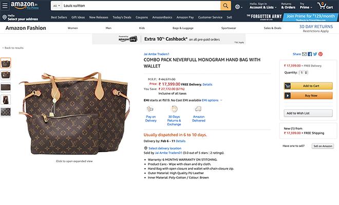 Hauterfly Amazon Fake Louis Vuitton