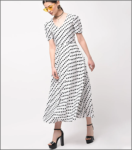 Hauterfly Polka Dot Dress Off-White