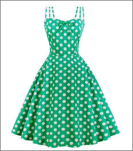 Hauterfly Polka Dot Dress Green Malavika Mohanan