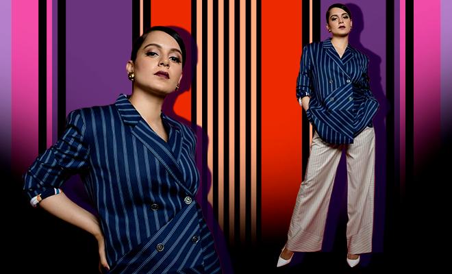 Kangana Ranaut Pinstripe Blazer Suit