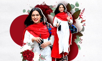 Hauterfly Sayani Gupta Red and white Salwar Kameez