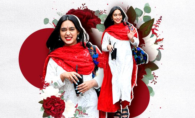 Hauterfly Sayani Gupta Red and white Salwar Kameez