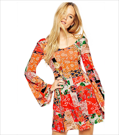 ASOS Swing Dress with Flared Sleeves in Mixed Paisley_Hauterfly