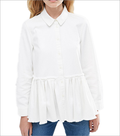 ASOS_Denim Drop Waist Pleated Shirt in White with Raw Hem_Hauterfly
