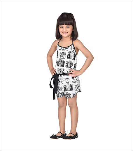 Black Camera Print Playsuit With Bow_Hauterfly