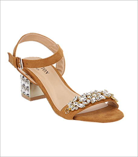 Carlton London Tan Embellished Sandals