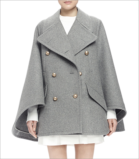 Chloe Double-Breasted Cape Coat Grey_Hauterfly