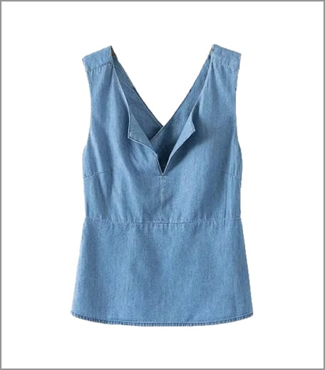 Closet Diaries Denim Cross Back Top