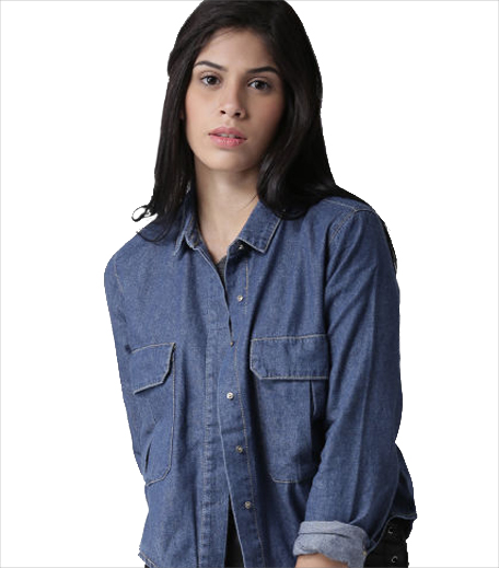 Fprever 21 Blue Denim Casual Shirt_Hauterfly