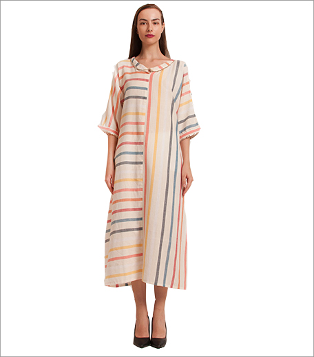 Free Living Ivory Striped Handloom Anti Fit Dress_Hauterfly