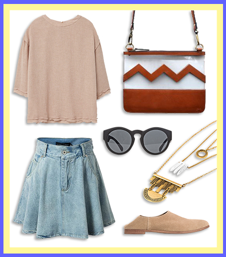 How To Wear_Denim Skater Skirt With A Girly Blouse_Hauterfly
