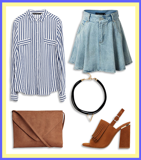 How To Wear_Denim Skater Skirt With A Striped Shirt_Hauterfly