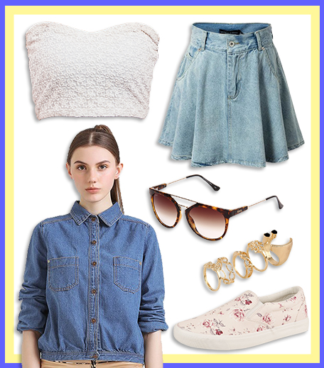 How To Wear_Denim Skater Skirt With Denim Jacket_Hauterfly