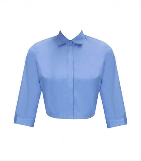 Ilk By Shikha And Vinita Blue collared crop shirt_Hauterfly