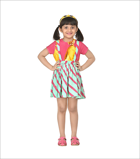 Jellybean Stripes Yellow Adorable Suspender Skirt With Top_Hauterfly