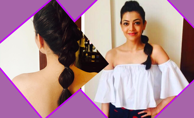 Kajal Aggarwal Bubble Ponytail Hairstyle_Hauterfly