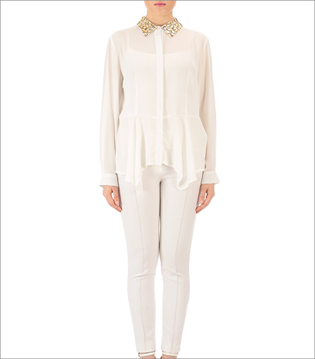 Kommal Sood_White Georgette Embellished Shirt with Golden Stone Embroidery on Collars_Hauterfly