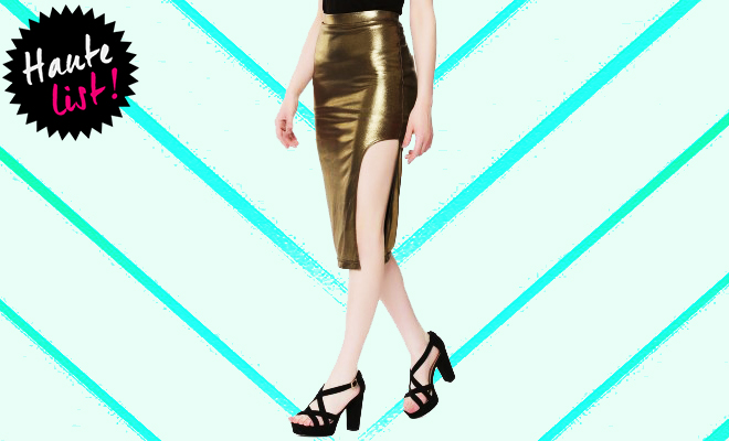 Koovs_Gold skirt_Featured_Hauterfly