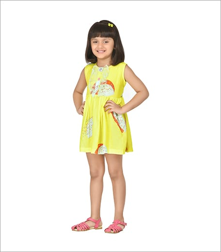 Marshmellow Yellow Short Dress With Dainty Frills_Hauterfly