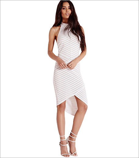Missguided Striped Mesh Sleeveless Bodycon Dress Off White_Hauterfly