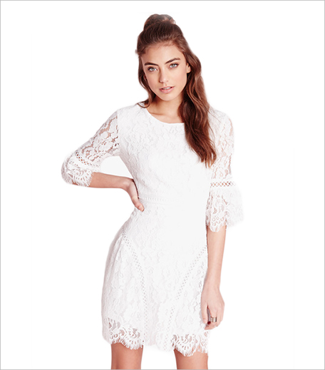 Missguided White Flared Sleeved Lace A-Line Dress_Hauterfly