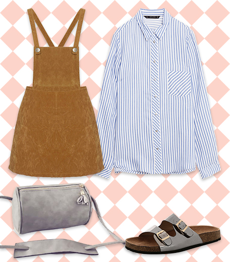 Striped Shirt With A Pinafore _Hauterfly3 Ways To Style A Striped Shirt_Hauterfly