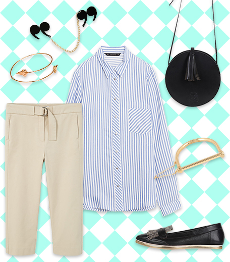 Striped Shirt With Cropped Trousers_Hauterfly3 Ways To Style A Striped Shirt_Hauterfly