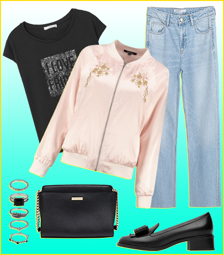 Style A Graphic Tee With A Satin Bomber Jacket___Hauterfly
