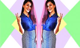 Taapsee Pannu_Get The Look In Manish Bansal Skirt & Forever 21 Shirt_Hauterfly