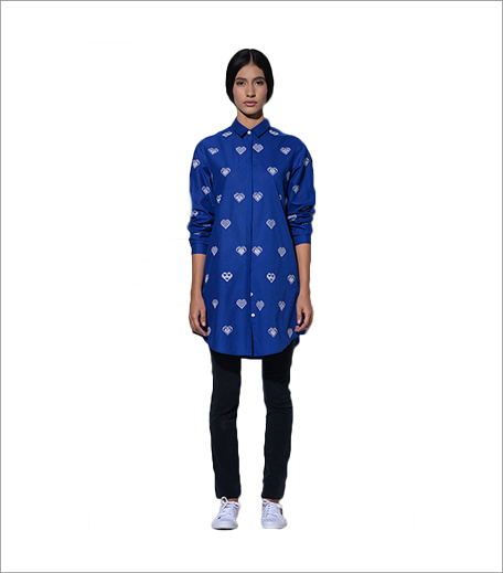 Umbar Amalfi Long Shirt In Blue With Hearts Embroidery _Hauterfly