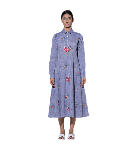 Umbar Majorca Ivory By Blue Embroidered Summer Dress_Hauterfly