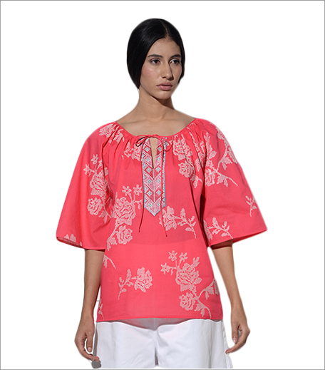 Umbar Paros Gathered Top In Pink With Rose Embroidery_Hauterfly