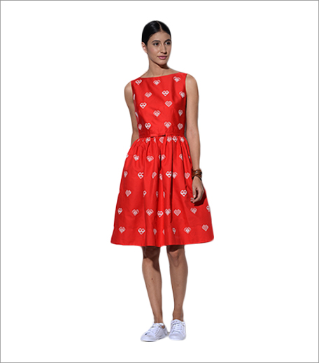 Umbar Rhodes Red Dress With Hearts Embroidery_Hauterfly